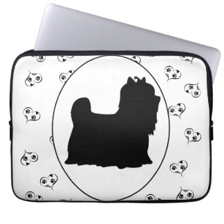 Yorkshire Terrier Silhouette Hearts and Paw Prints Laptop Sleeve