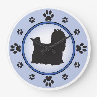 Yorkshire Terrier Silhouette Large Clock
