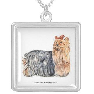 Yorkshire Terrier Square Pendant Necklace