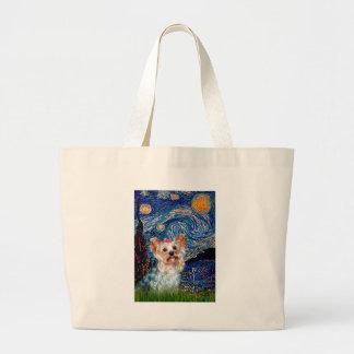 Yorkshire Terrier (t) - noche estrellada (Vert.) Bolsa Tela Grande