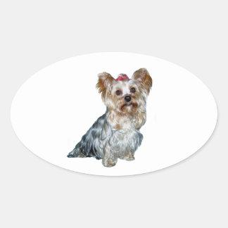 Yorkshire Terrier (t) Calcomanía De Óval