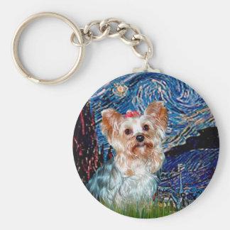 Yorkshire Terrier (T) - Starry Night (Vert.) Keychain