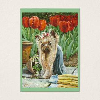 Yorkshire Terrier Tulip Garden Business Card