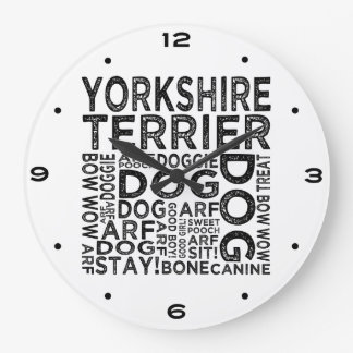 Yorkshire Terrier Typography Large Clock