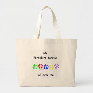 Yorkshire Terrier Walks Large Tote Bag
