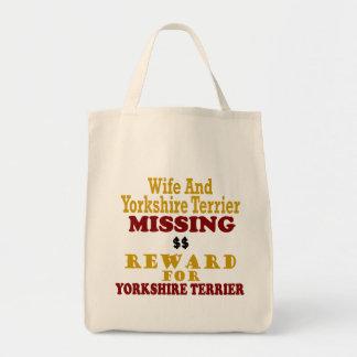 Yorkshire Terrier & Wife Missing Reward For Yorksh Canvas Bag