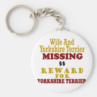 Yorkshire Terrier & Wife Missing Reward For Yorksh Key Chain