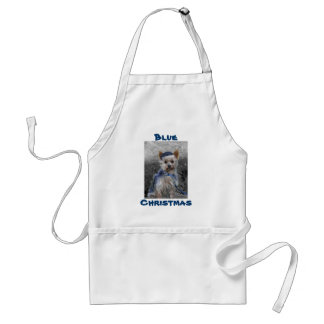 Yorkshire Terrier with Blue Santa Hat Adult Apron