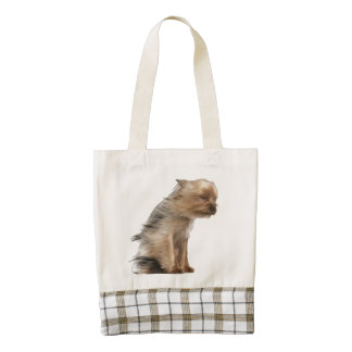Yorkshire Terrier with Hair in the Wind Zazzle HEART Tote Bag