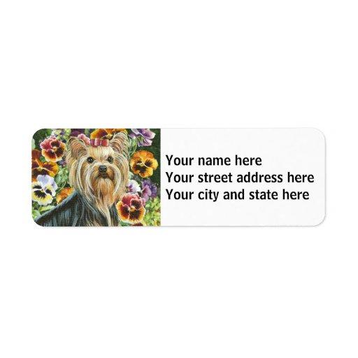 Yorkshire Terrier with Pansies Custom Return Address Labels