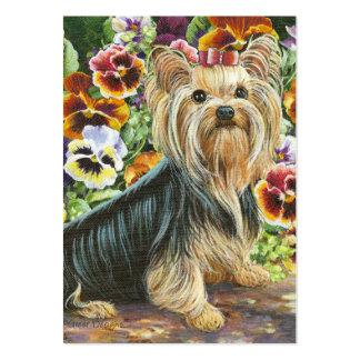 Yorkshire Terrier y pintura de los pensamientos Tarjetas De Visita