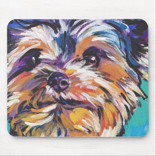 Yorkshire terrier yorkie Colorful Pop Dog Art Mousepad