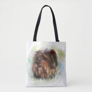 Yorkshire terrier,Yorkie,Digital painting Tote Bag