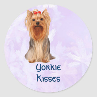 Yorkshire Terrier - Yorkie Kisses Classic Round Sticker
