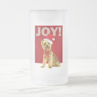 Yorkshire Terrier - Yorkie Santa Clause 16 Oz Frosted Glass Beer Mug