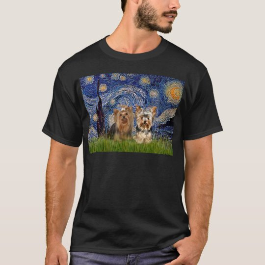 Yorkshire Terriers (7and17) - Starry Night T-Shirt