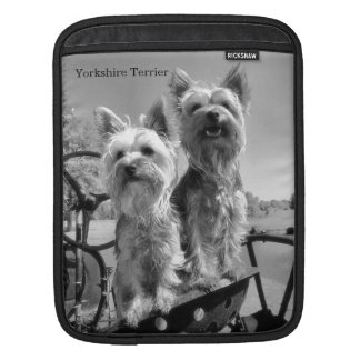 Yorkshire Terriers, Black and White, ipad Sleeve