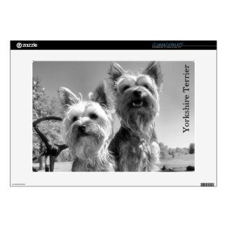 Yorkshire Terriers, Black and White, Laptop Skin