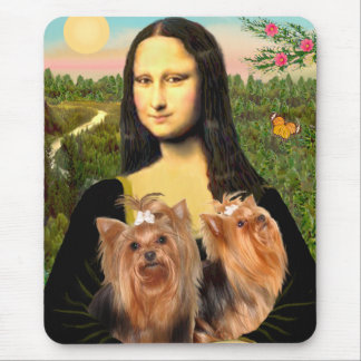 Yorkshire Terriers (two)  -  Mona Lisa Mouse Pad
