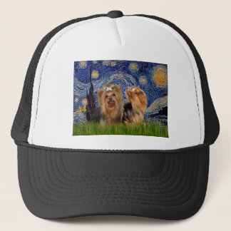 Yorkshire Terriers (two)  - Starry Night Trucker Hat