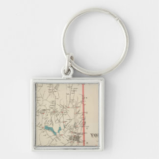 Yorktown NY Silver-Colored Square Keychain