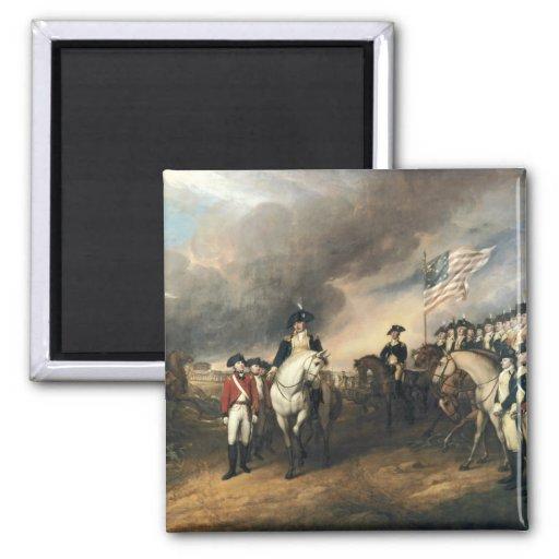 Yorktown Surrender by John Trumbull 2 Inch Square Magnet