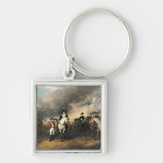 Yorktown Surrender by John Trumbull Silver-Colored Square Keychain