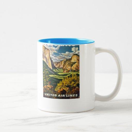 Yosemite American Vintage Travel Posters Two-Tone Coffee Mug