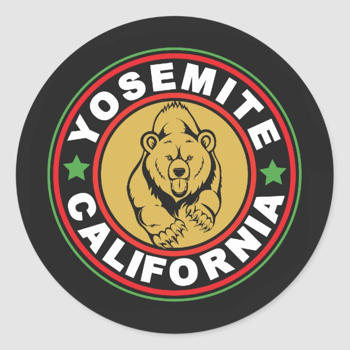 Yosemite Black Circle Classic Round Sticker