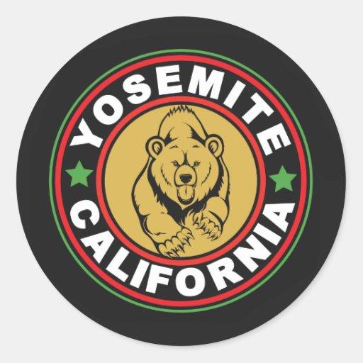 Yosemite Black Circle Round Stickers