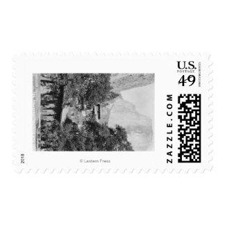 Yosemite, CA - The Ahwahnee Lodge and El Capitan Stamp