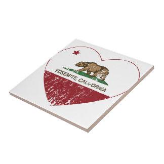 Yosemite California Republic Heart Distressed Tile