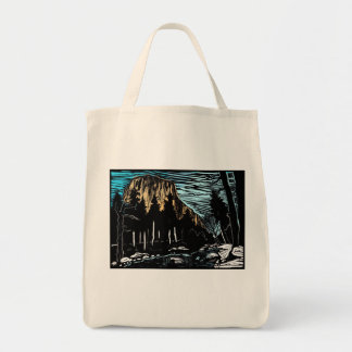 Yosemite El Capitan Winter Woodcut Scene Tote