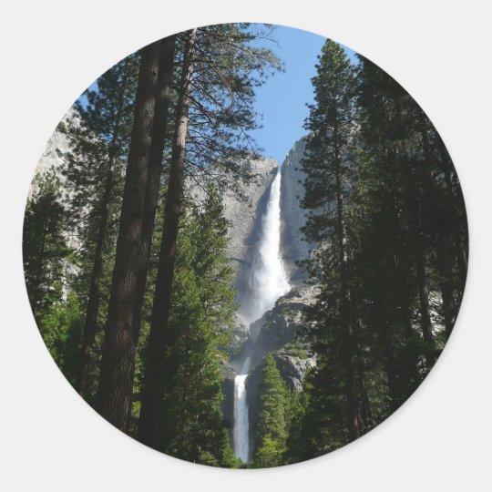 Yosemite Falls and Woods Landscape Photography Classic Round Sticker