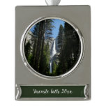 Yosemite Falls and Woods Landscape Photography Silver Plated Banner Ornament