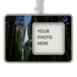 Yosemite Falls and Woods Landscape Photography Silver Plated Framed Ornament