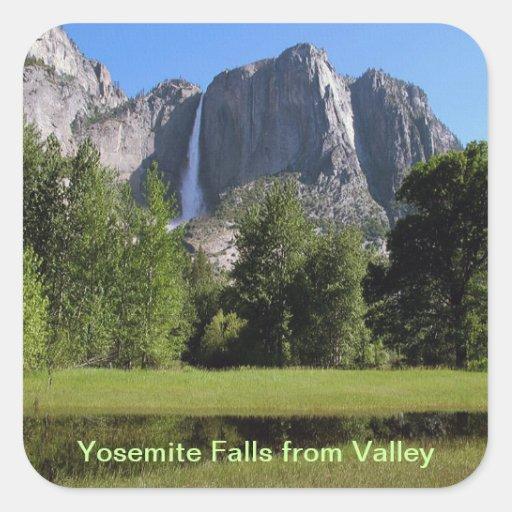 Yosemite Falls from Valley in California Square Sticker
