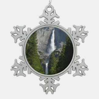 Yosemite Falls II from Yosemite National Park Snowflake Pewter Christmas Ornament