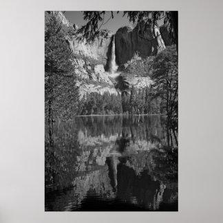 Yosemite Falls Reflection Ansel Adams like b/w Poster