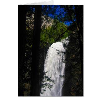 yosemite falls through trees greeting card