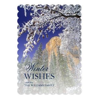 Yosemite framed by snow-covered black oaks card