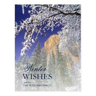 Yosemite framed by snow-covered black oaks postcard