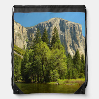 Yosemite From Valley Floor, Sierra-Nevada Drawstring Backpack