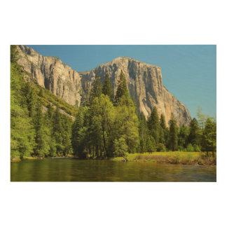 Yosemite From Valley Floor, Sierra-Nevada Wood Wall Decor