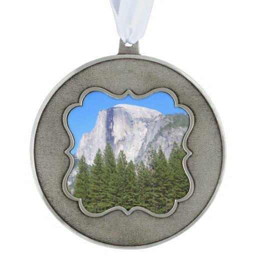 Yosemite Half Dome Scalloped Pewter Ornament