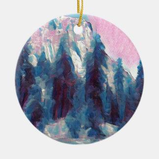Yosemite in Pink Ceramic Ornament
