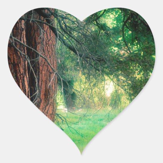 Yosemite Misty Reflections Park Heart Sticker