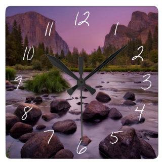 Yosemite National Park at Dusk Square Wall Clock