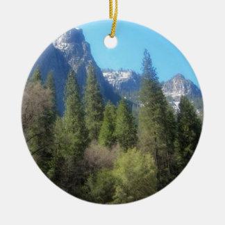 Yosemite National Park (C) Double-Sided Ceramic Round Christmas Ornament