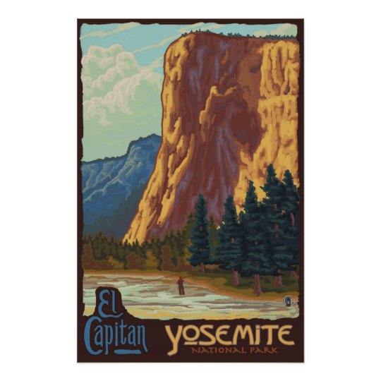 Railroad Posters Of Yosemite National Park: Yosemite National Park, CA - El Capitan Poster